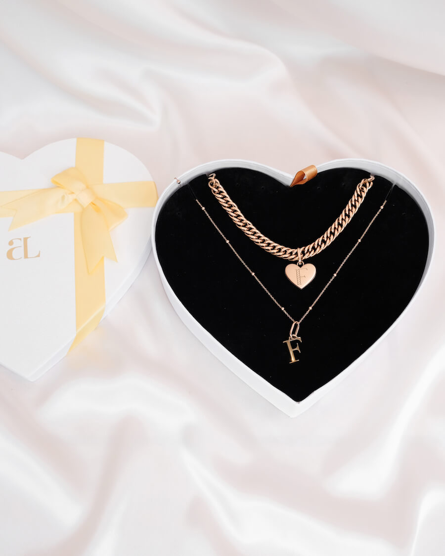 Heart Curb & Letter Sphere Chain Love Gift Set (Rose Gold)