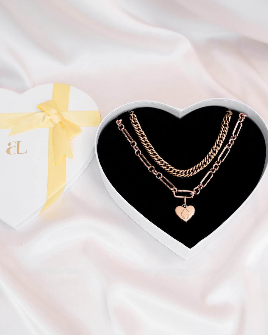 Curb Chain & Heart Figaro Love Gift Set (Rose Gold)