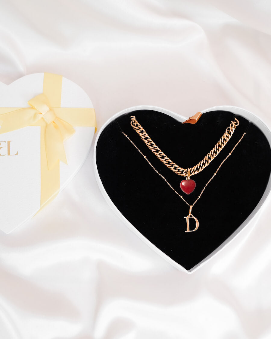 Letter Sphere & Birthstone Curb Chain Love Gift Set (Rose Gold)