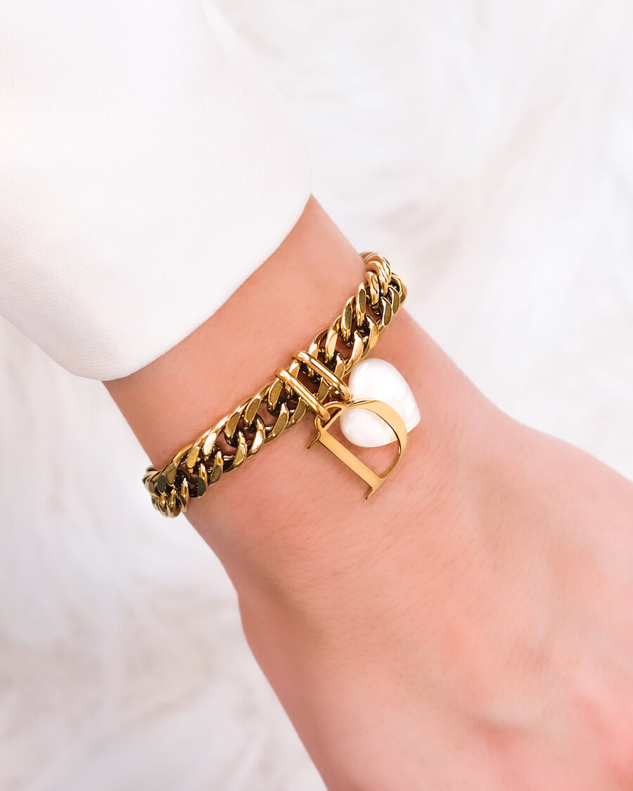 Letter & Birthstone Curb Chain Bracelet (Gold)