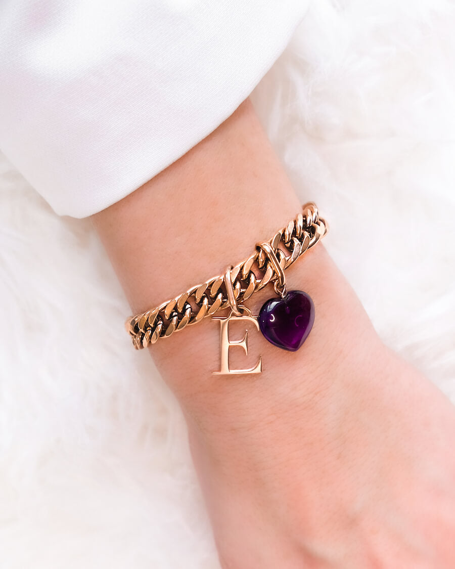 Letter & Birthstone Curb Chain Bracelet (Rose Gold)