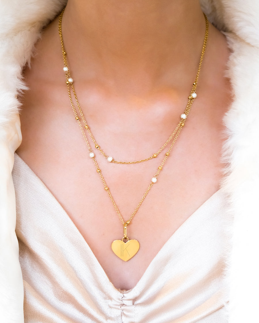 Heart Pearl Double Sphere Chain Necklace (Gold)