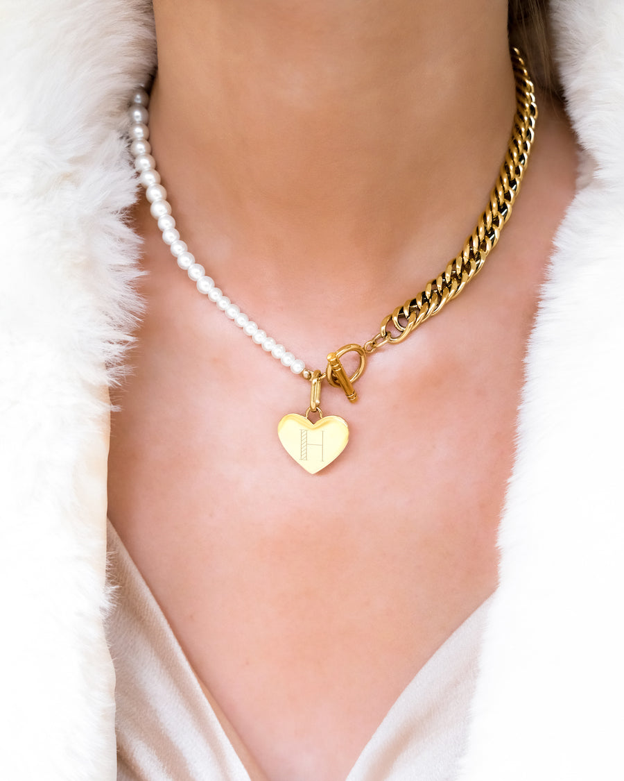 Heart Pearl Curb Chain Necklace (Gold)