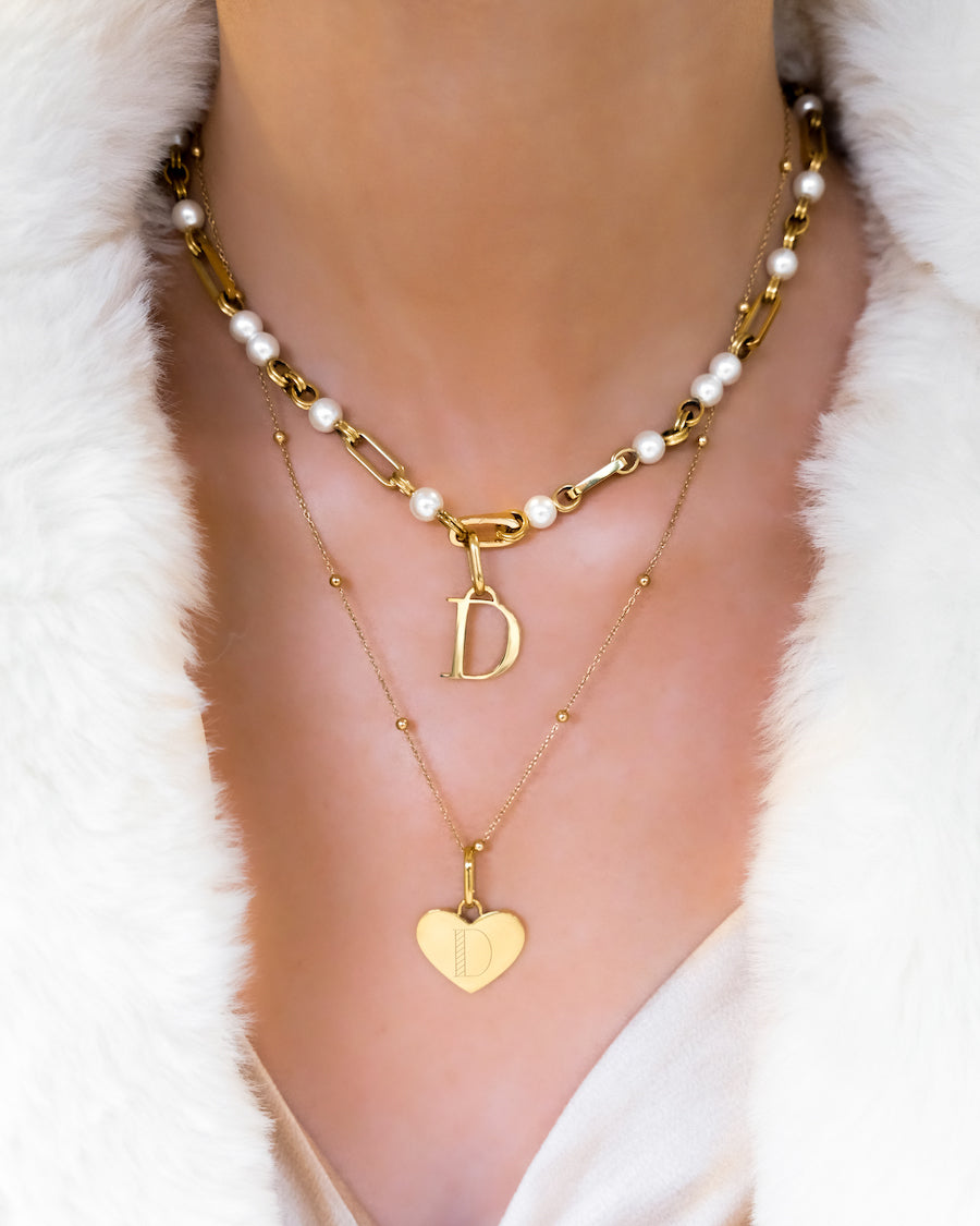 Heart & Letter Pearl Chain Layered Set (Gold)