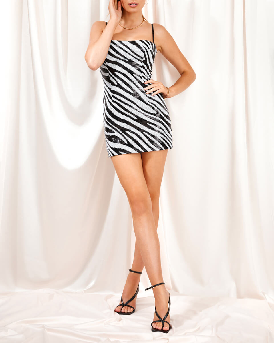 Sofia Zebra Sequin Corset Mini Dress