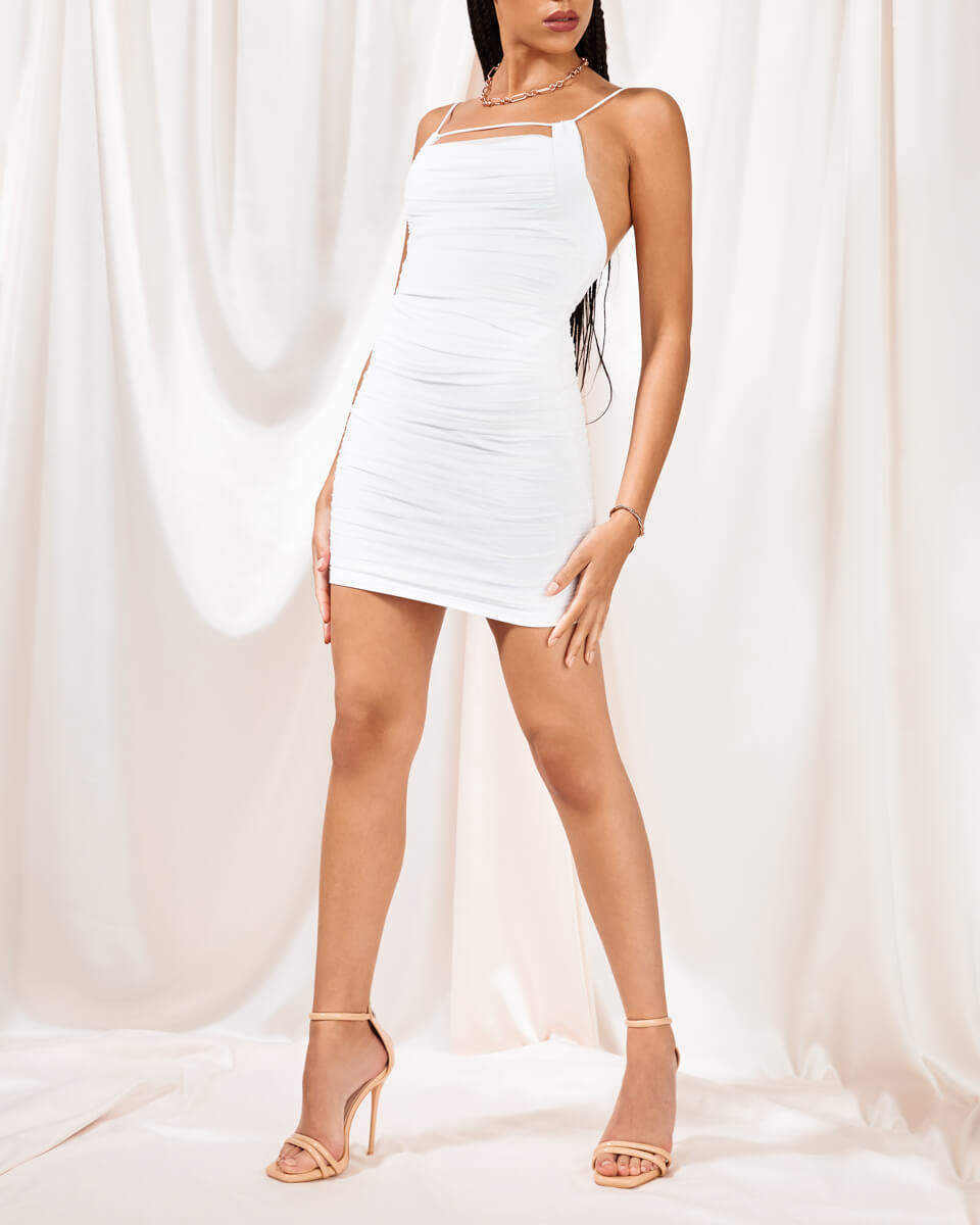 Olivia White Ruched Mini Dress
