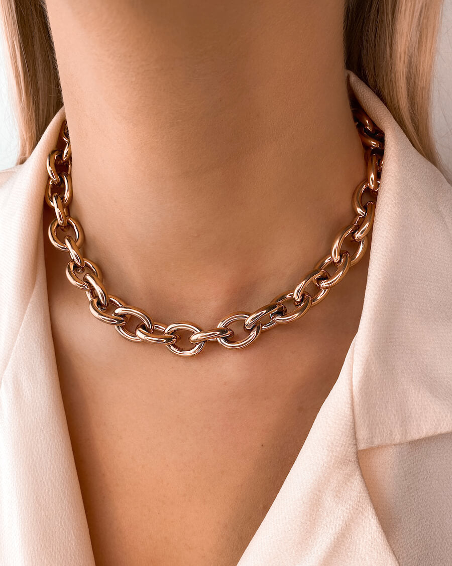 Oval Link Chain Necklace (Rose Gold)