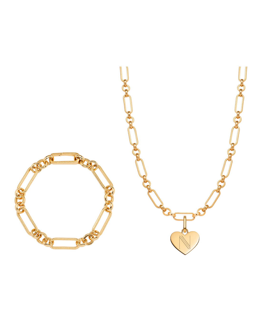 Heart Figaro Chain Necklace & Bracelet Gift Set (Gold)