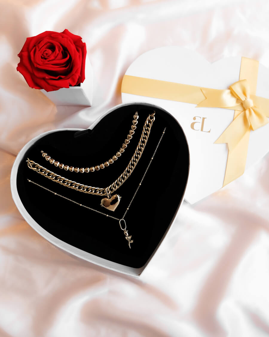 Rose & Locket Heart Chain Love Gift Set (Champagne)