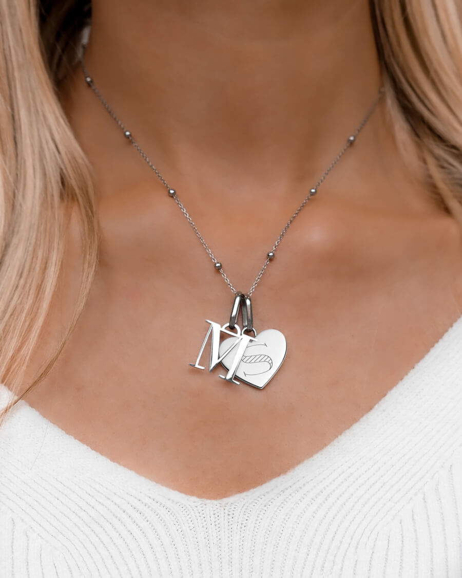 Heart & Letter Sphere Chain Necklace (Silver)