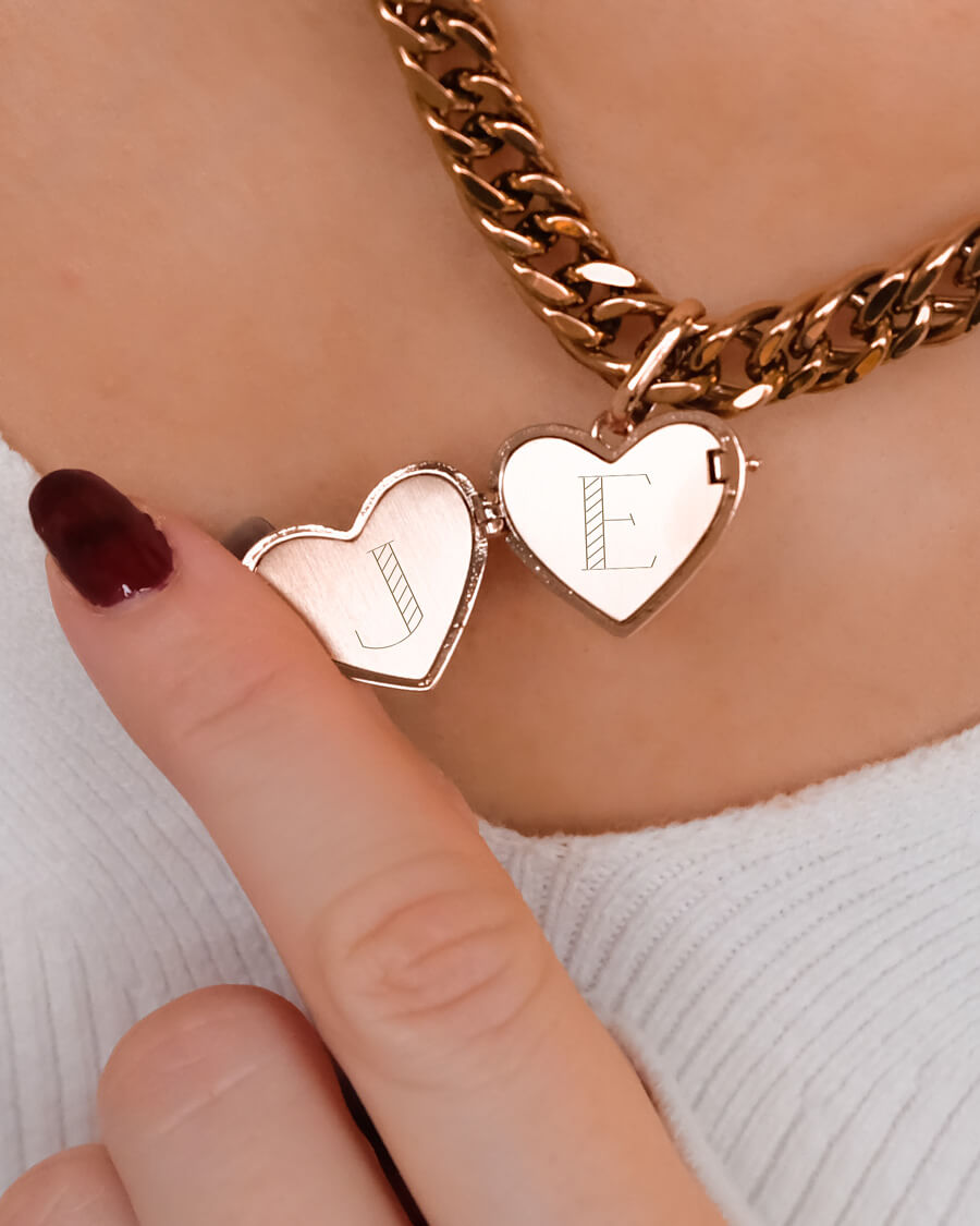 Love Locket Curb Chain Necklace 18 in (Rose Gold)