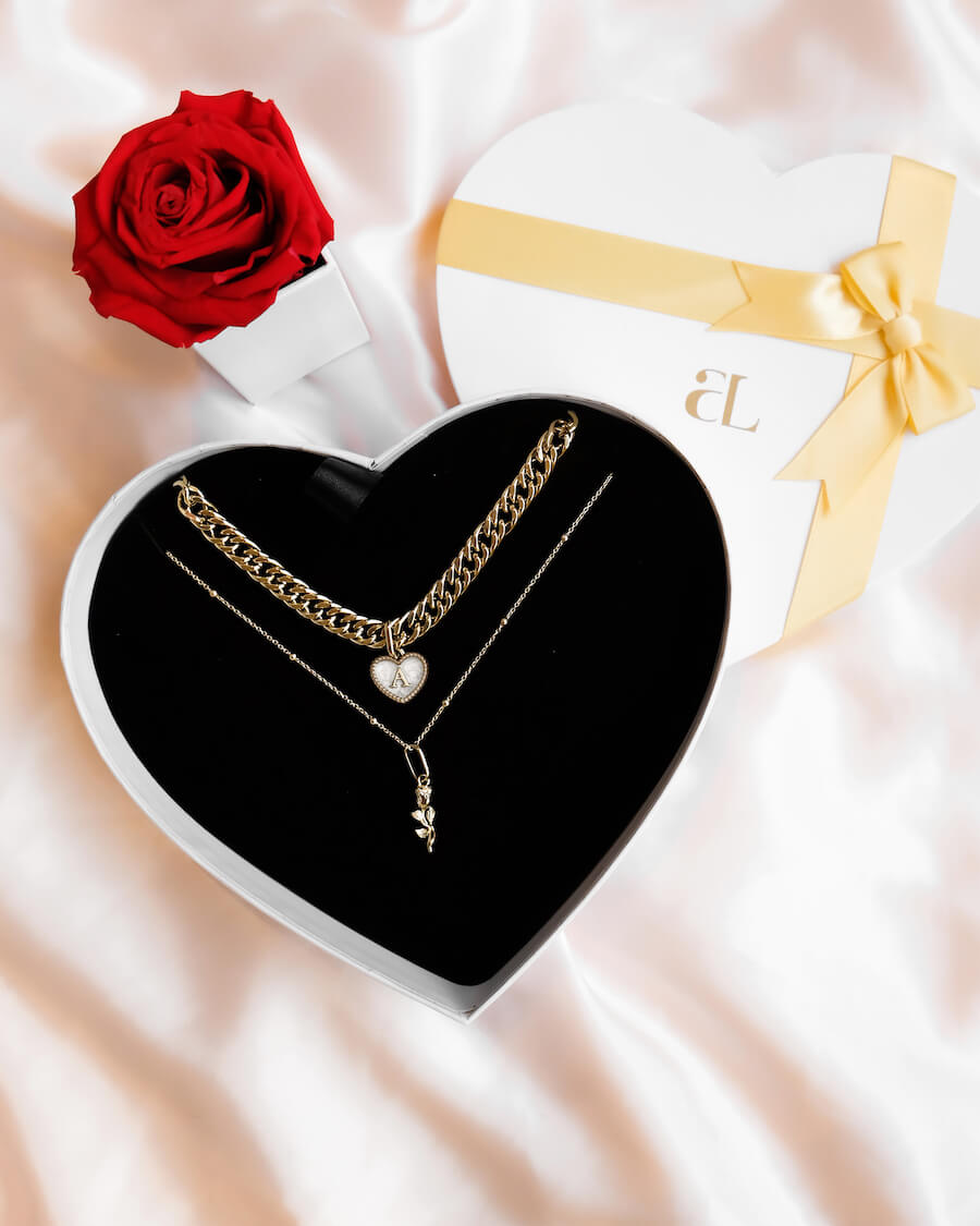Pearl Heart & Rose Love Gift Set (Champagne)