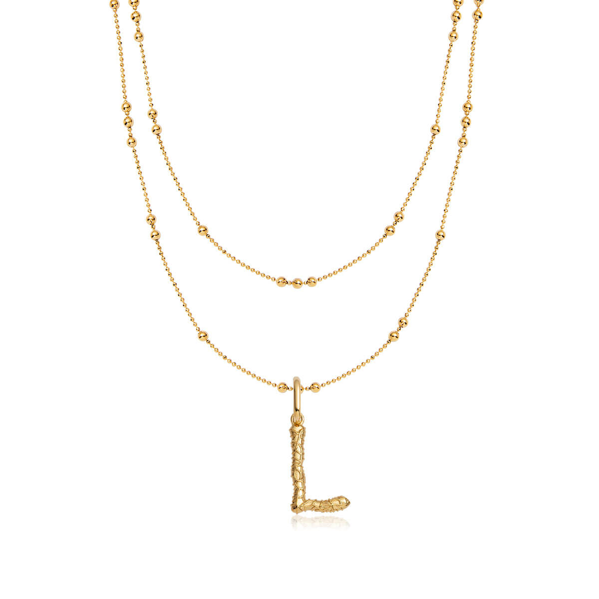 Foil Letter Double Sphere Chain Necklace (Gold)