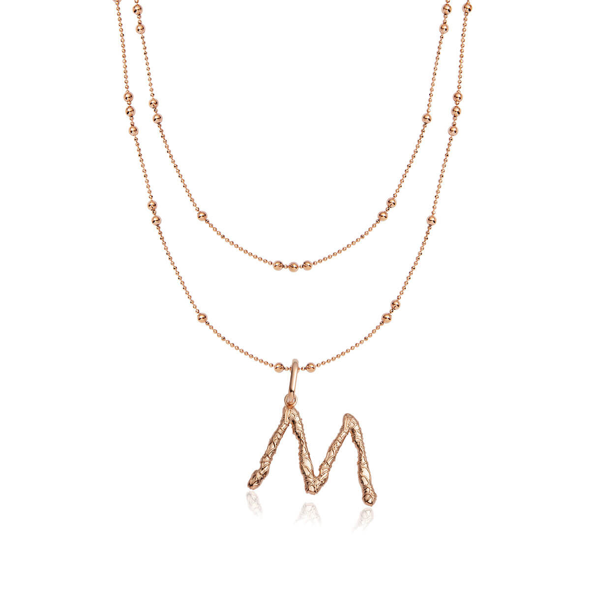 Foil Letter Double Sphere Chain Necklace (Rose Gold)