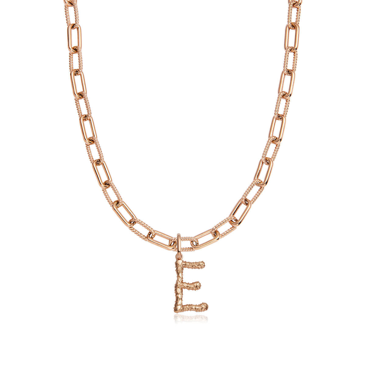 Foil Letter Square Link Chain Necklace (Rose Gold)