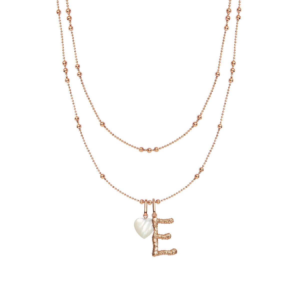 Foil Letter & Birthstone Double Sphere Chain Necklace (Rose Gold)