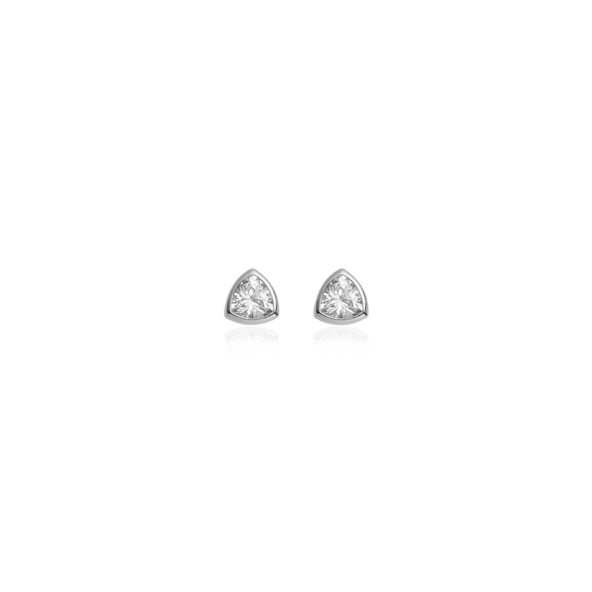 Sterling Silver Crystal Stud Earrings (Silver)