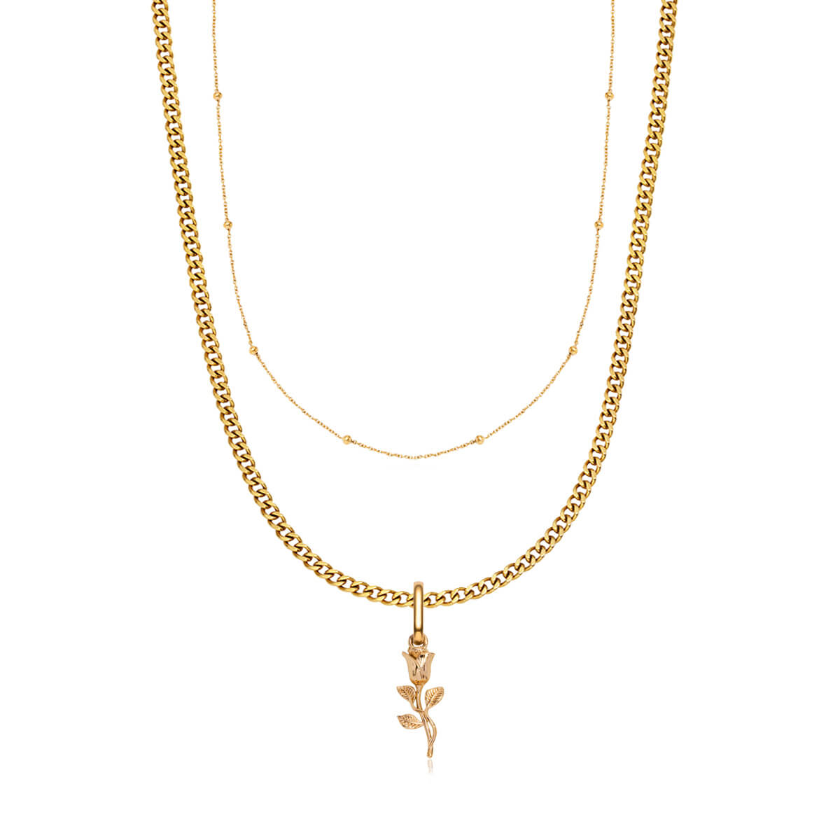 Small Curb Chain & Rose Pendant Layered Set (Gold)
