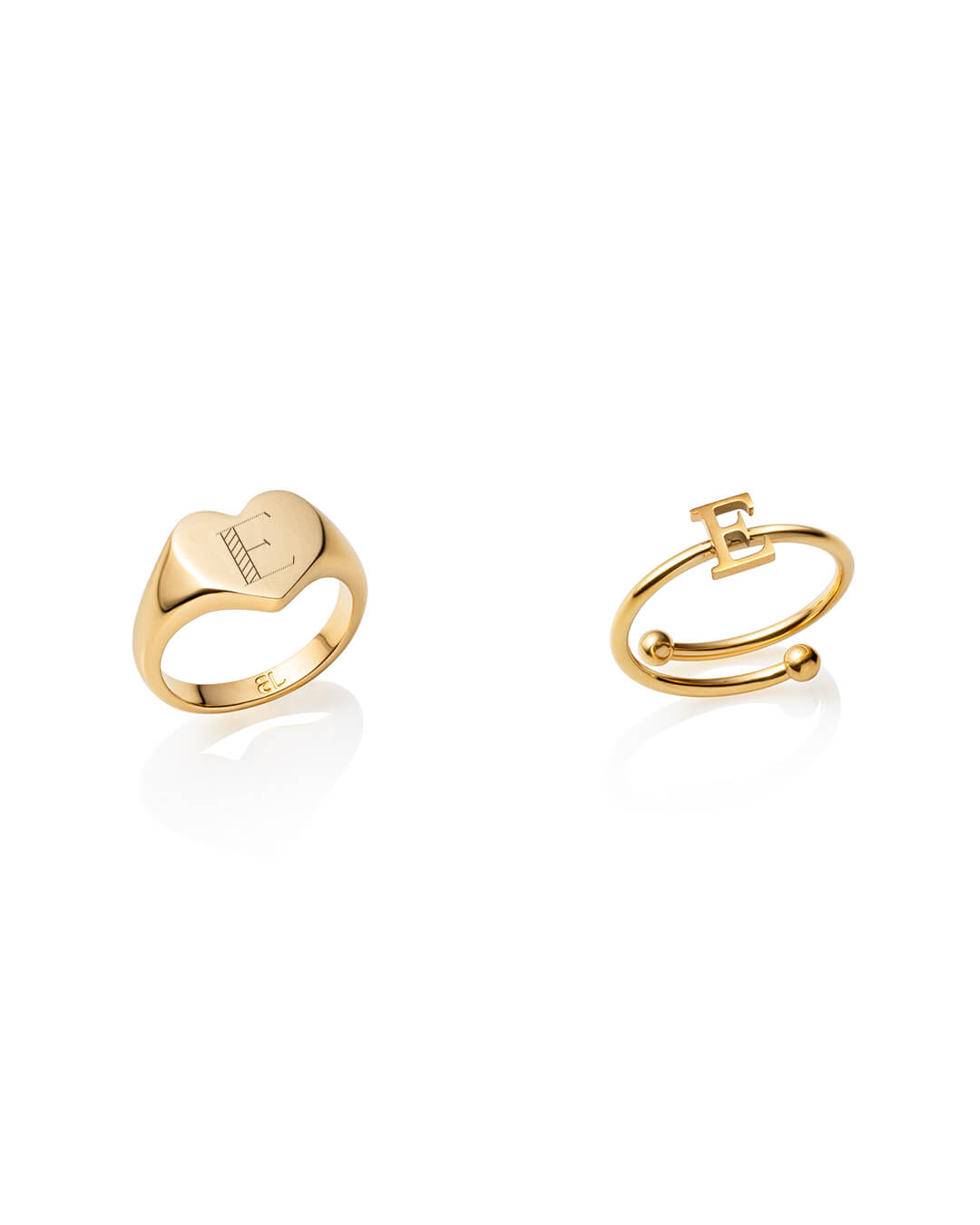 Heart Signet & Letter Rings Gift Set