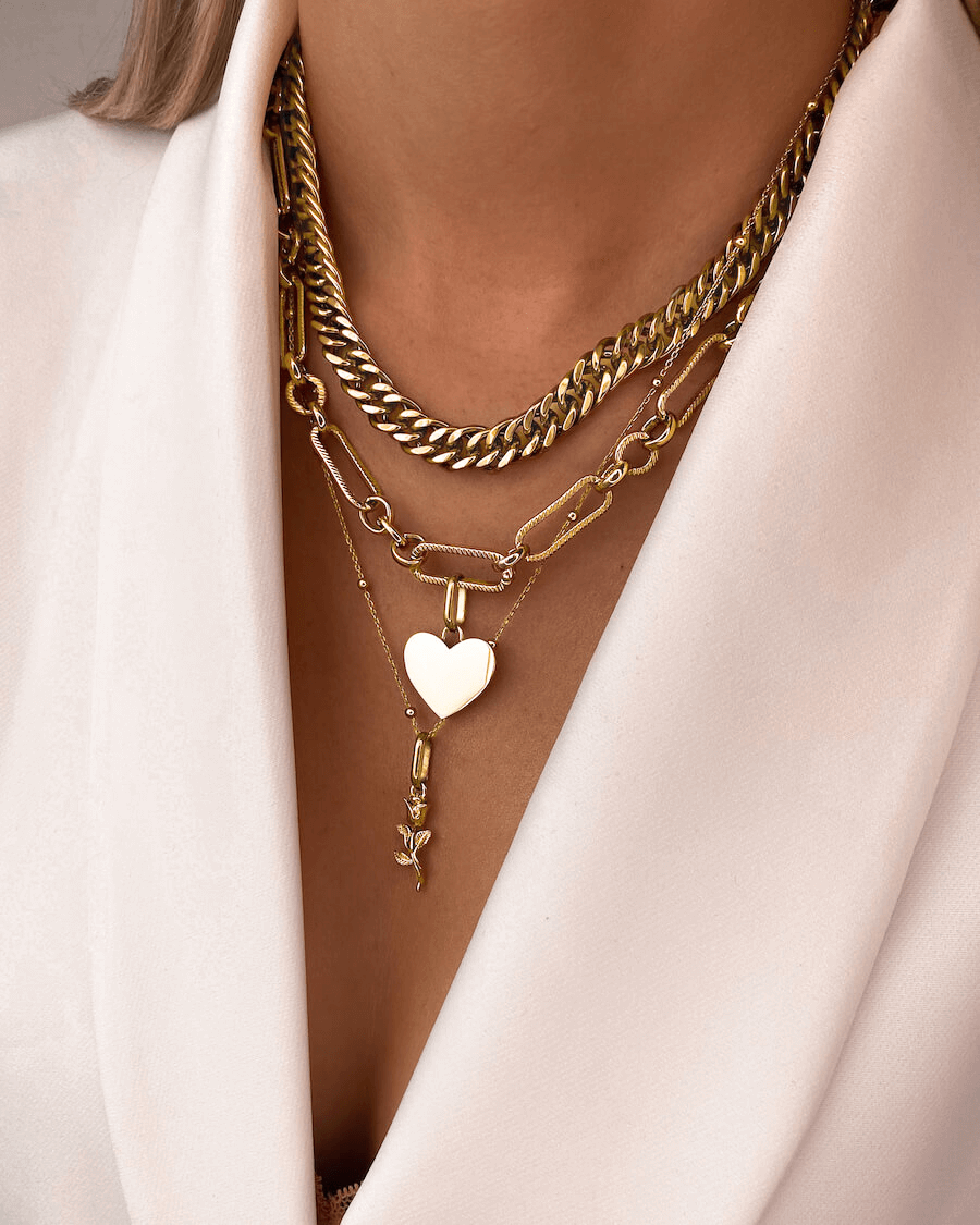 Sphere Chain & Rose Pendant Layered Set (Gold)