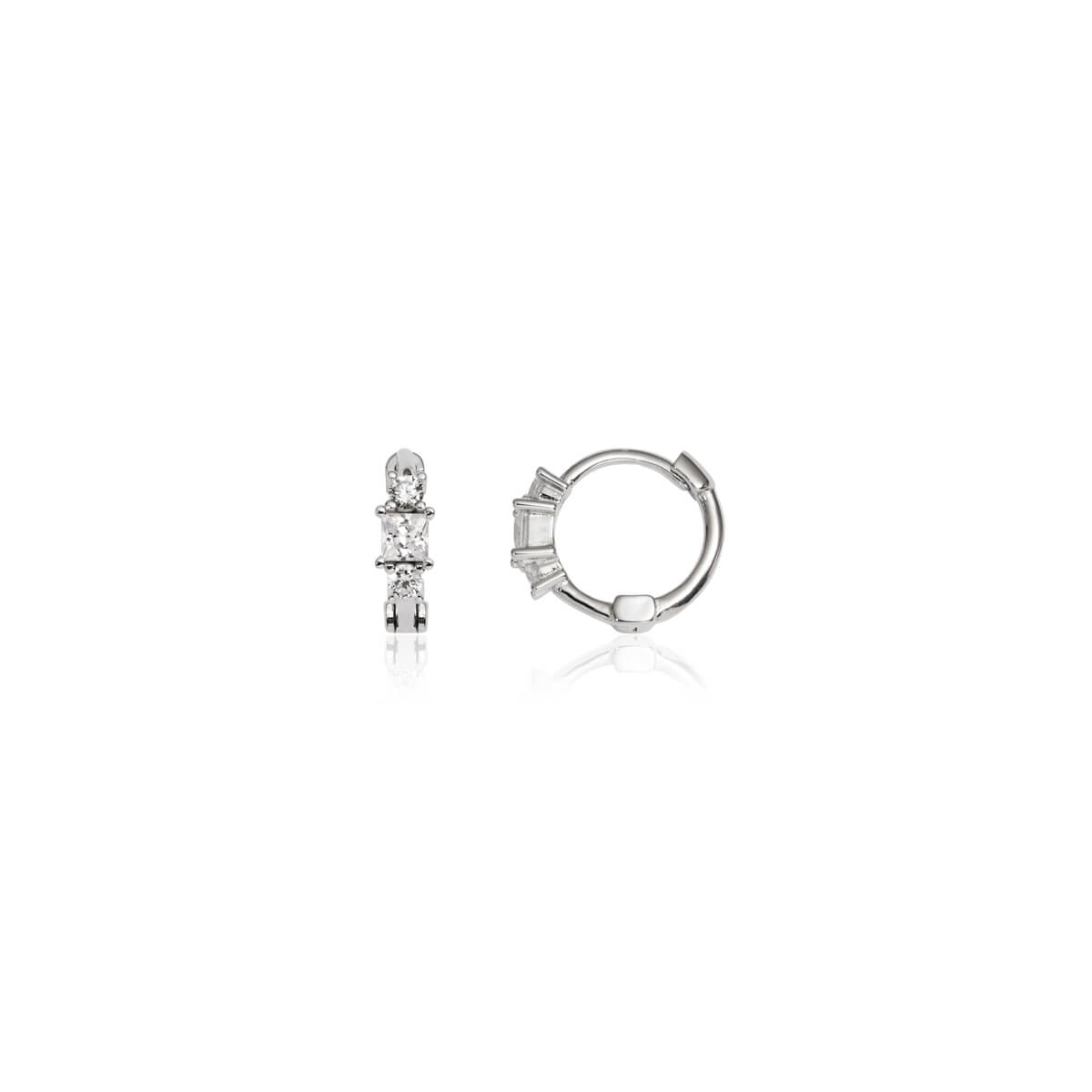 Sterling Silver Triple Crystal Huggie Hoop Earrings (Silver)