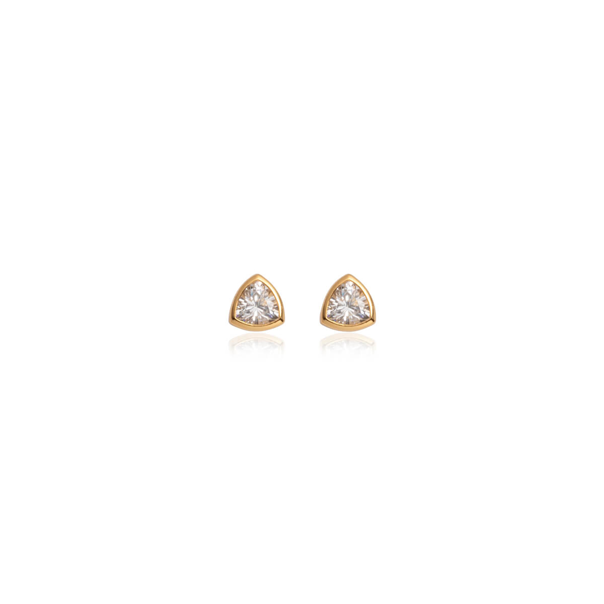 Sterling Silver Crystal Stud Earrings (Gold)