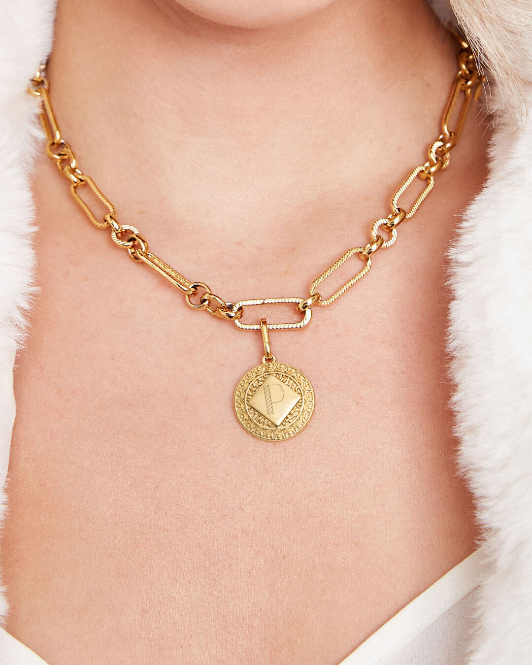 Maya Coin Figaro Chain Necklace (Gold)