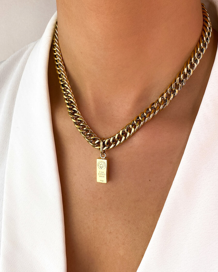 Gold Bar Curb Chain Necklace 16 in (Gold)
