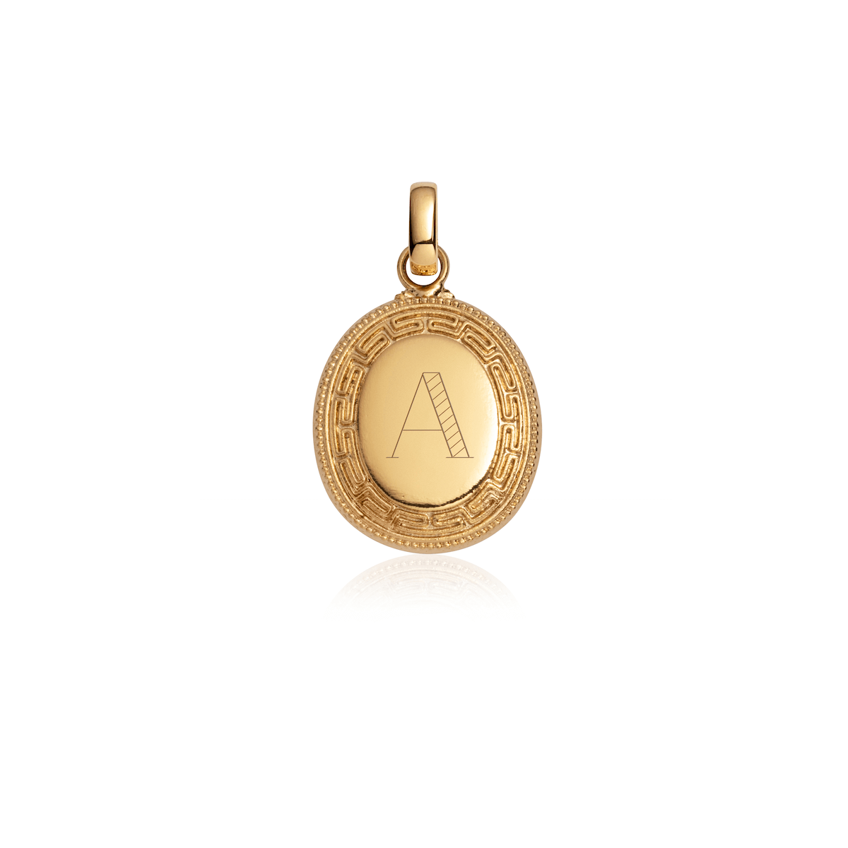 Greek Key Oval Pendant (Brass)