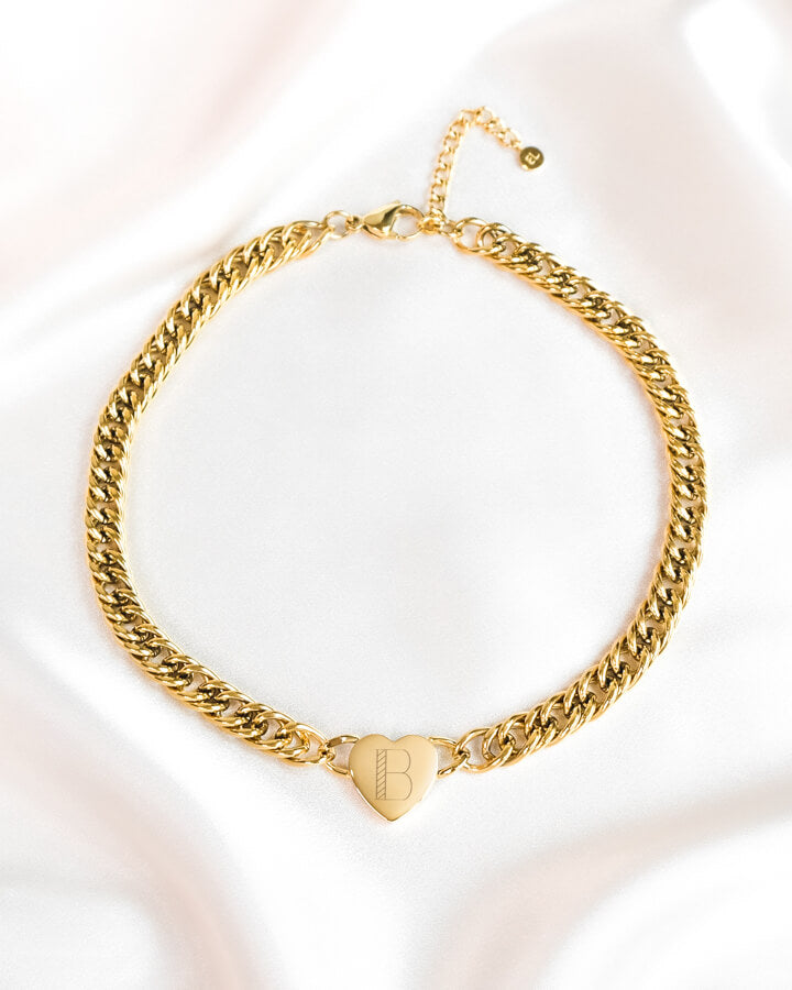 Heart Curb Chain Personalise Necklace (Gold)