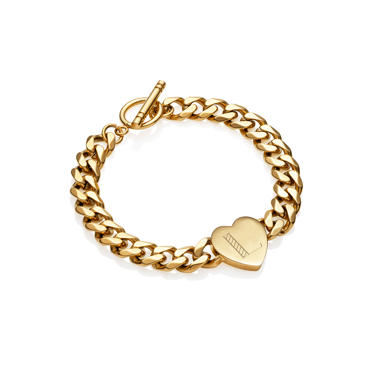 Heart Curb Chain Personalise Bracelet (Gold)