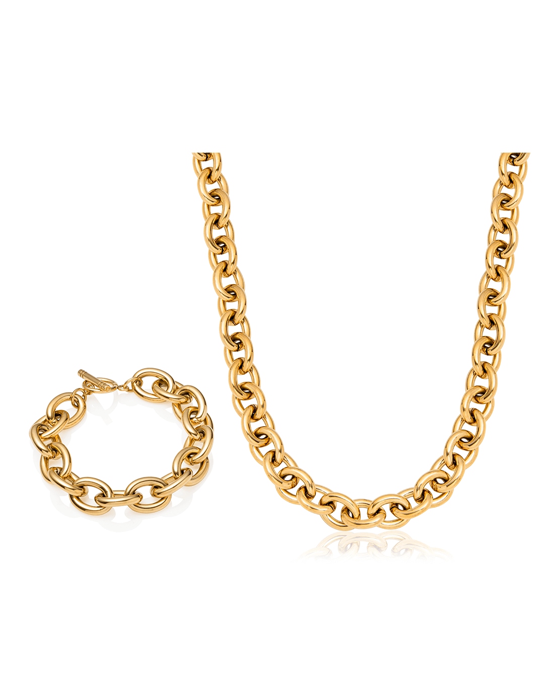 Oval Link Chain Necklace & Bracelet Gift Set (Gold)