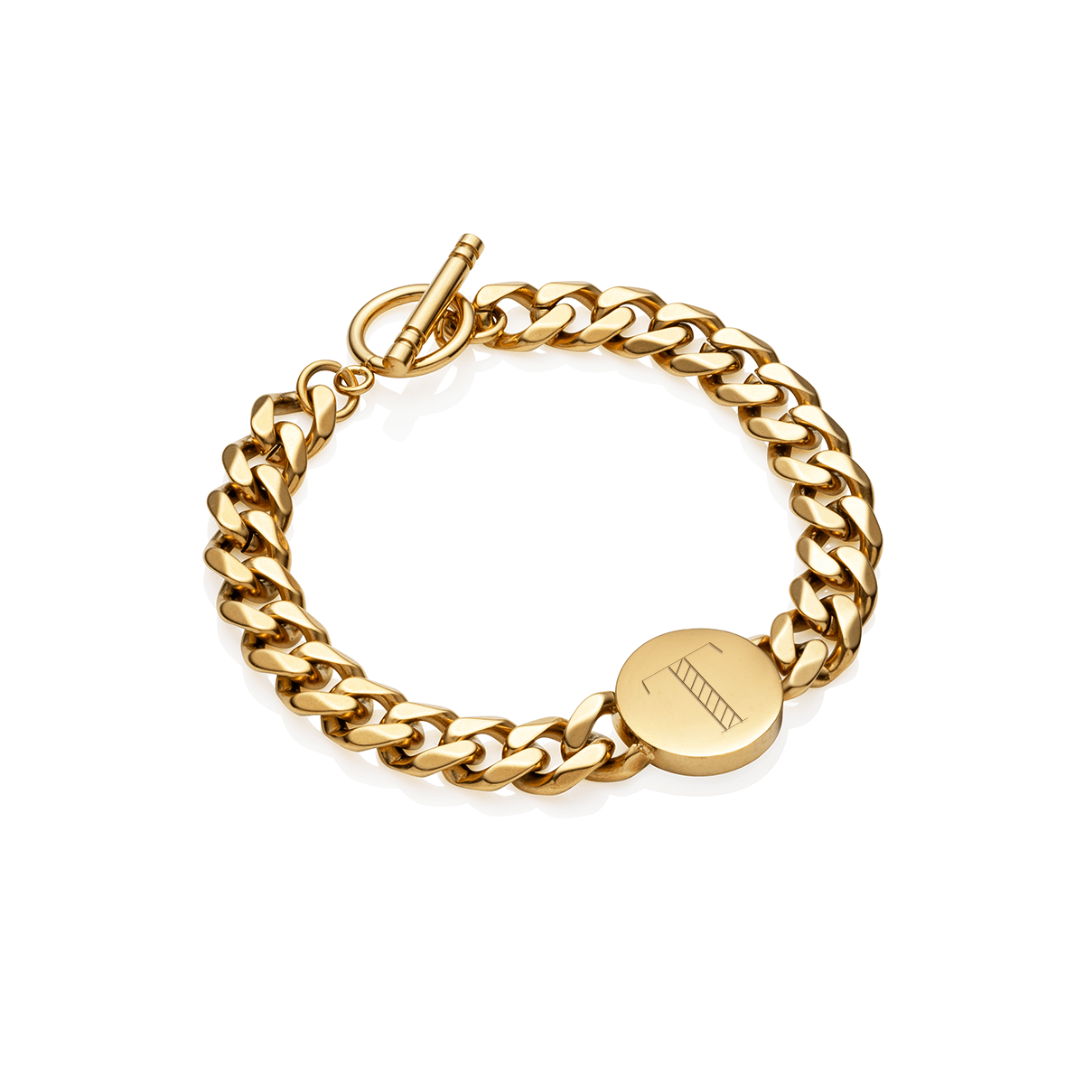 Circular Curb Chain Personalise Bracelet (Gold)