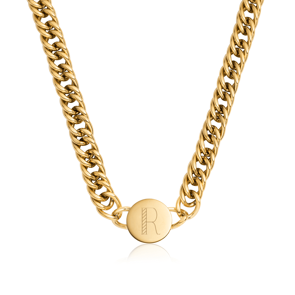 Circular Curb Chain Personalise Necklace (Gold)
