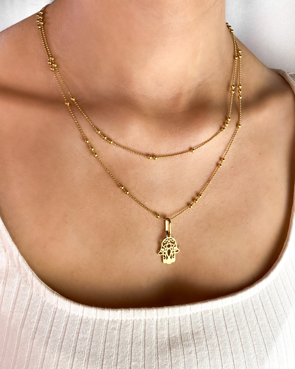 Hamsa Double Sphere Chain Necklace (Gold)