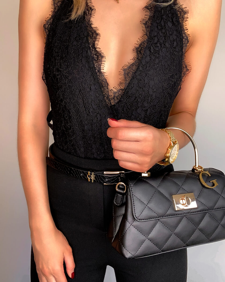 Black Top Handle Quilted Bag (Gold)