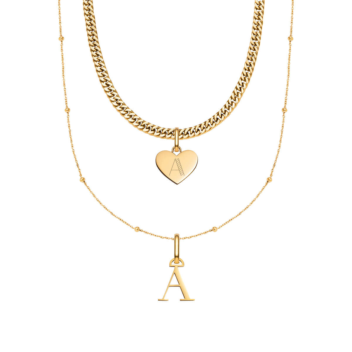 Heart Curb & Letter Sphere Chain Love Gift Set (Gold)