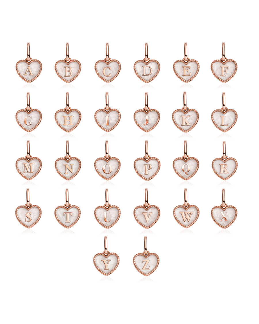 Pearl Heart Letter Curb Chain Necklace 18 in (Rose Gold)