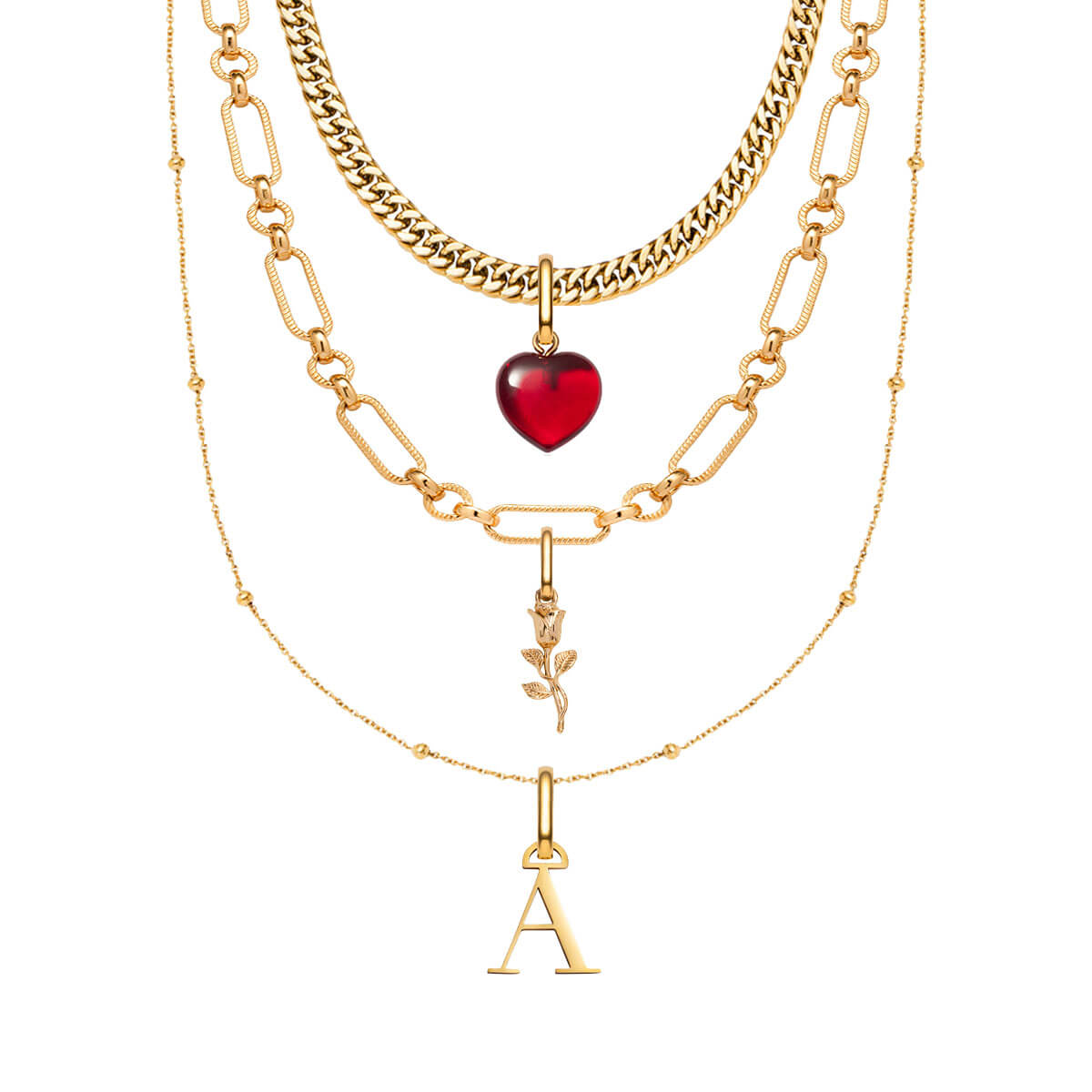 Rose Pendant Multi Chain Personalised Layered Set (Gold)