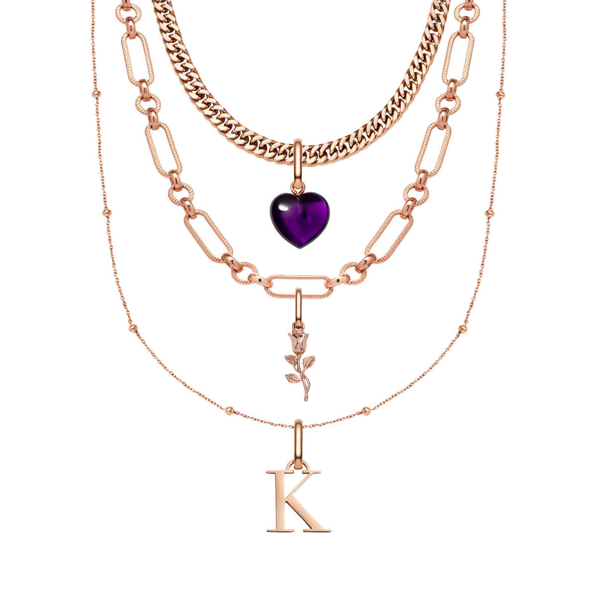 Rose Pendant Multi Chain Personalised Layered Set (Rose Gold)