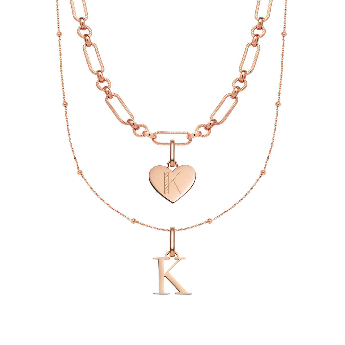 Heart Figaro & Letter Sphere Chain Layered Set (Rose Gold)