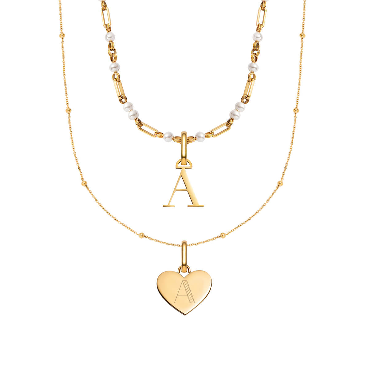 Heart & Letter Pearl Chain Love Gift Set (Gold)