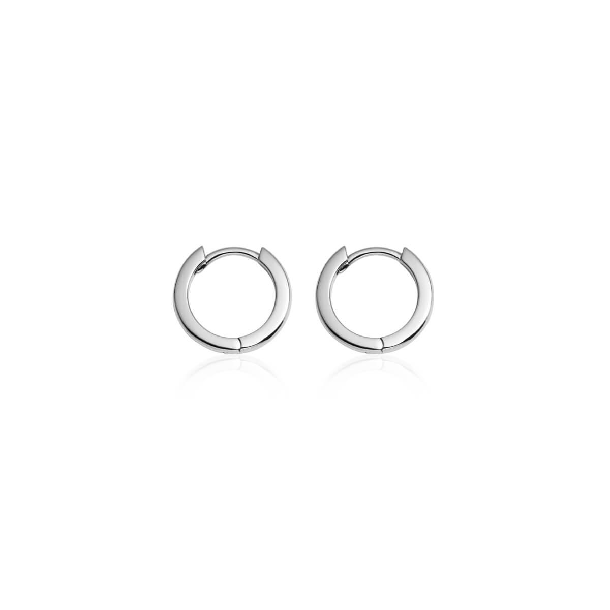 Sterling Silver Huggie Hoop Earrings (Silver)