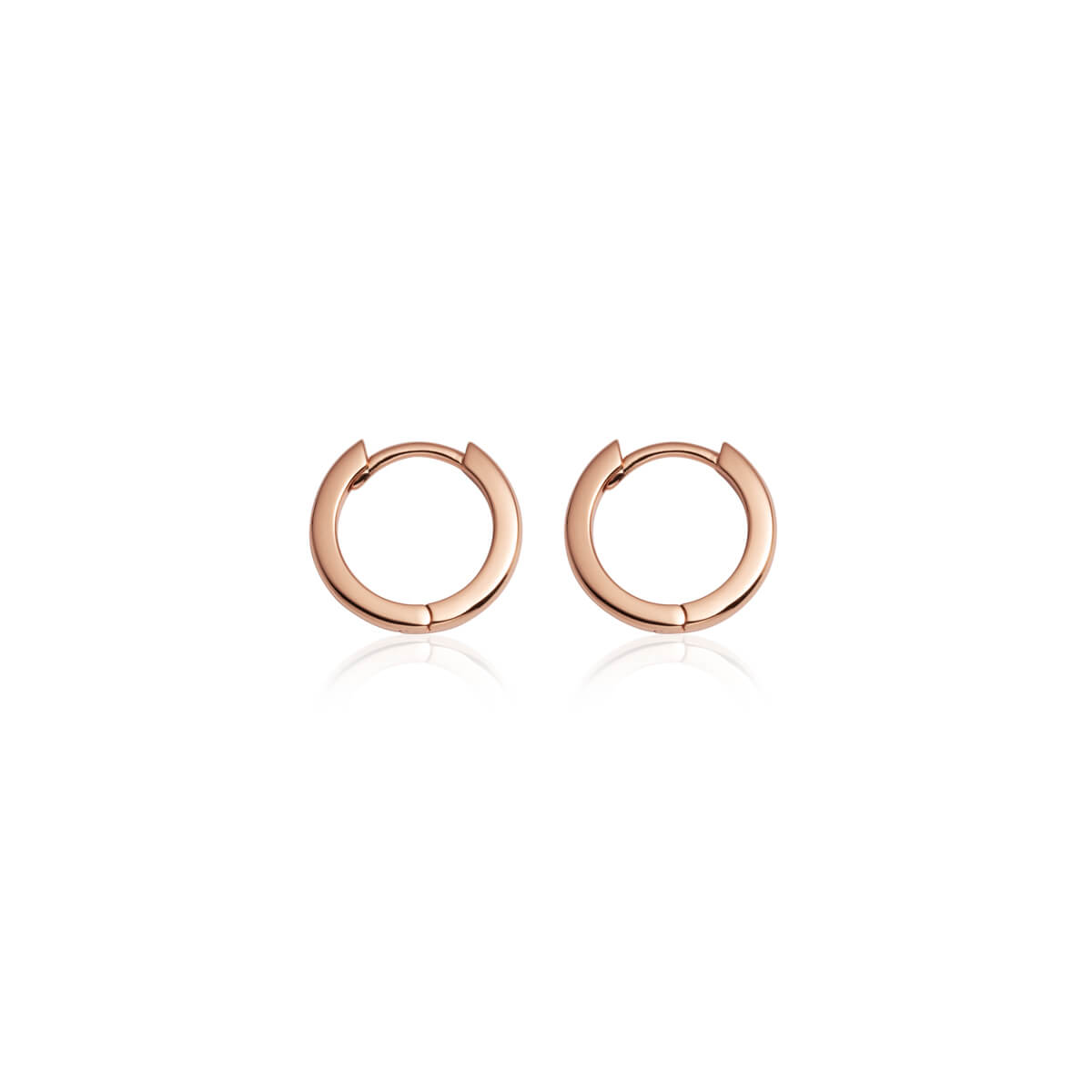 Sterling Silver Huggie Hoop Earrings (Rose Gold)