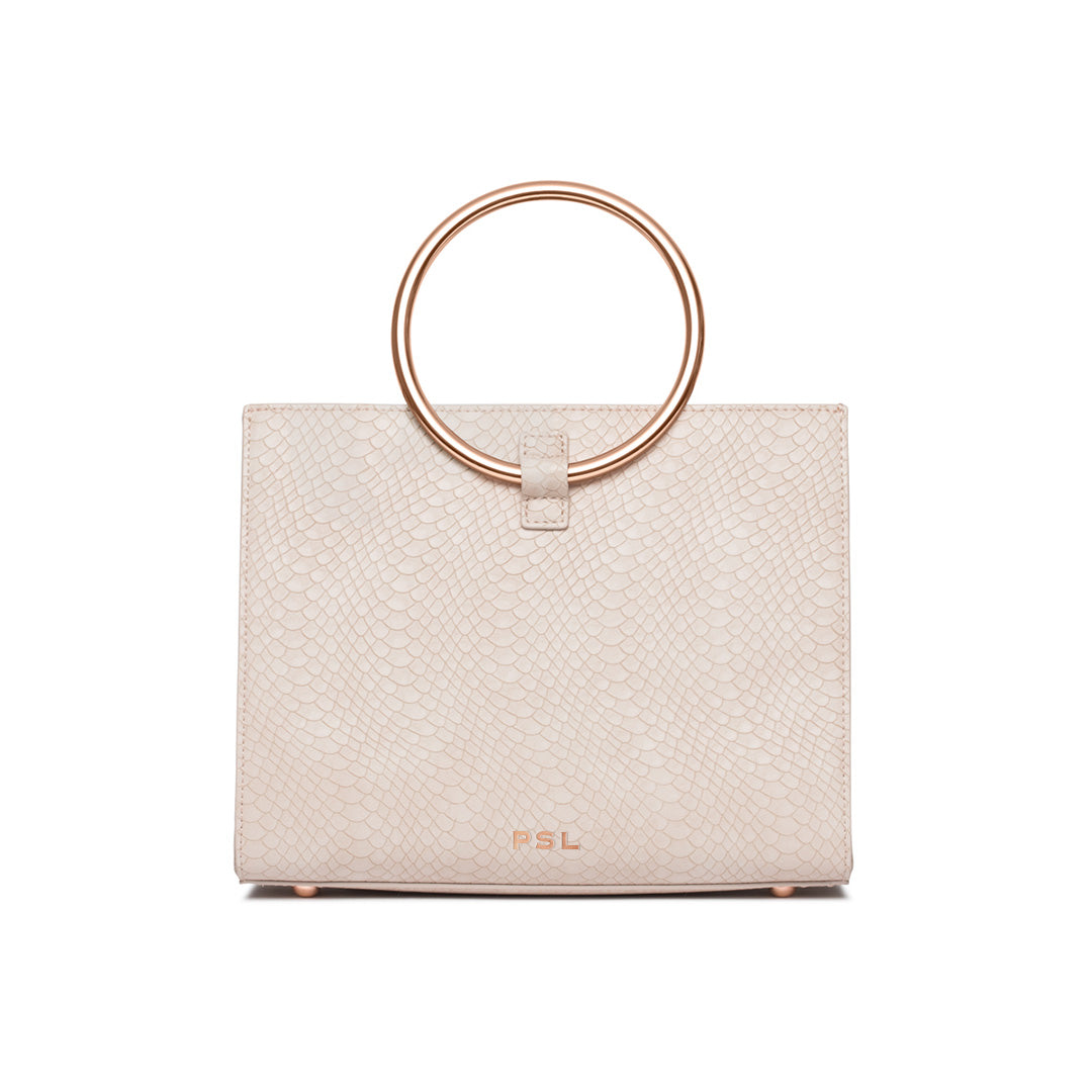 Ivory White Moda Handbag Rose Gold