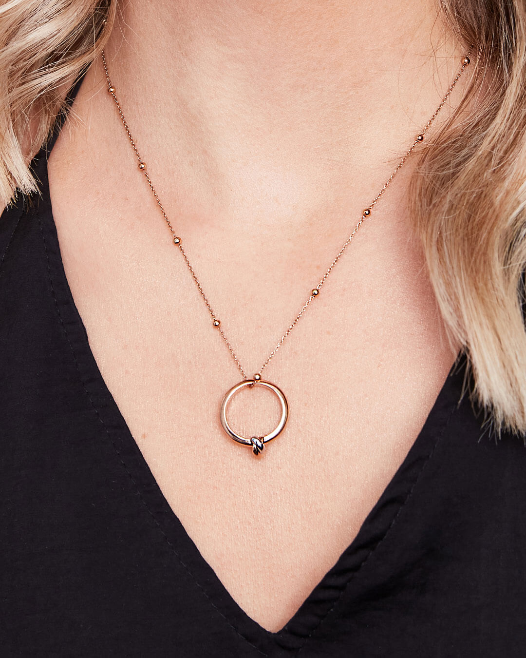 Knot Sphere Chain Necklace (Rose Gold)