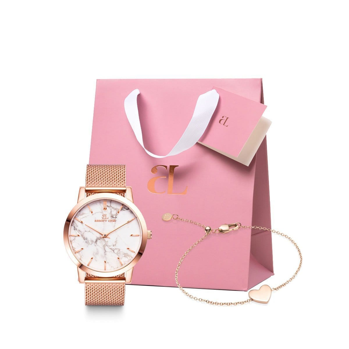 The Rose Gold Chain Marble Luxe 40 Heart Little Luxe Gift Set (Rose/Rose)