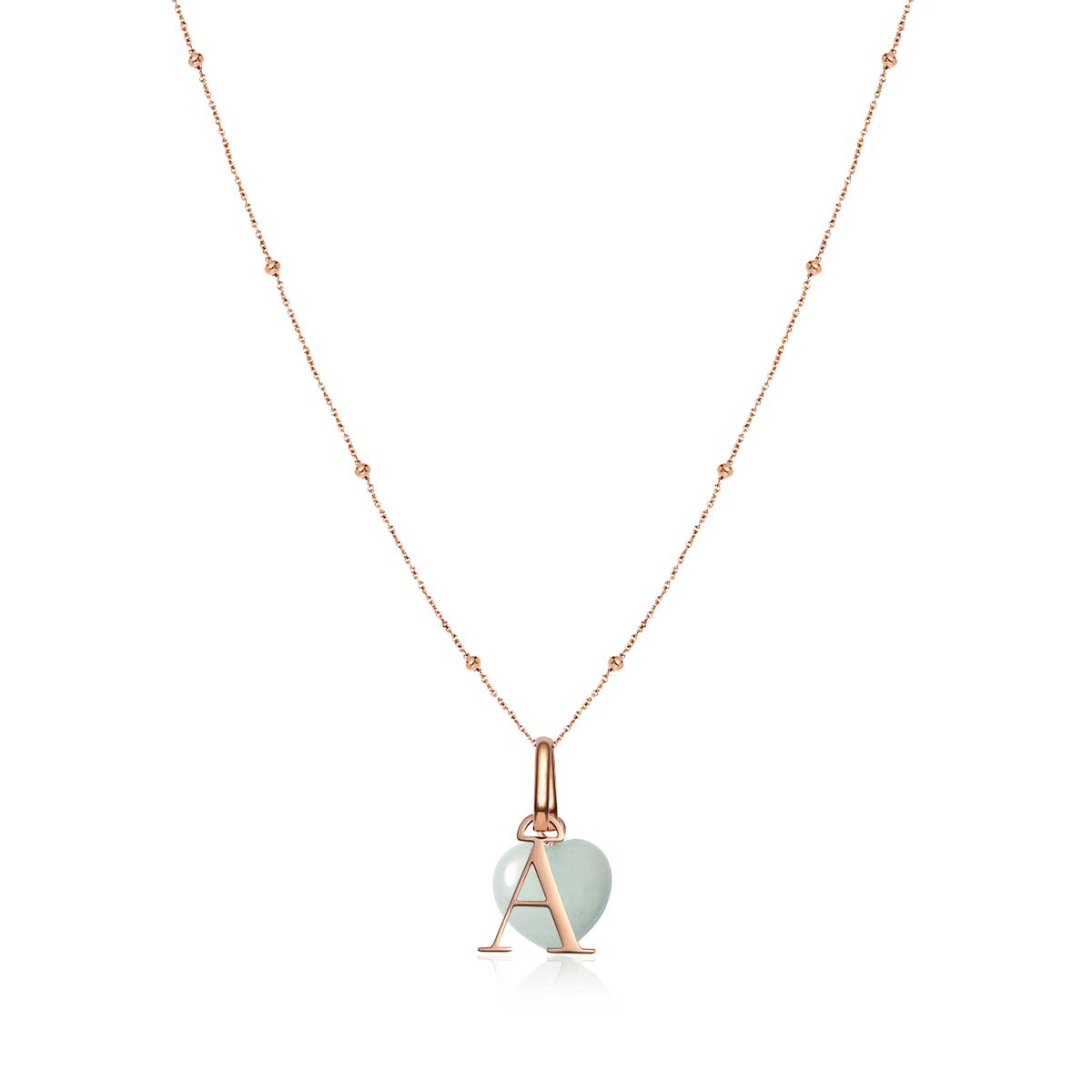 Letter Sphere Chain & Birthstone Pendant Set (Rose Gold)