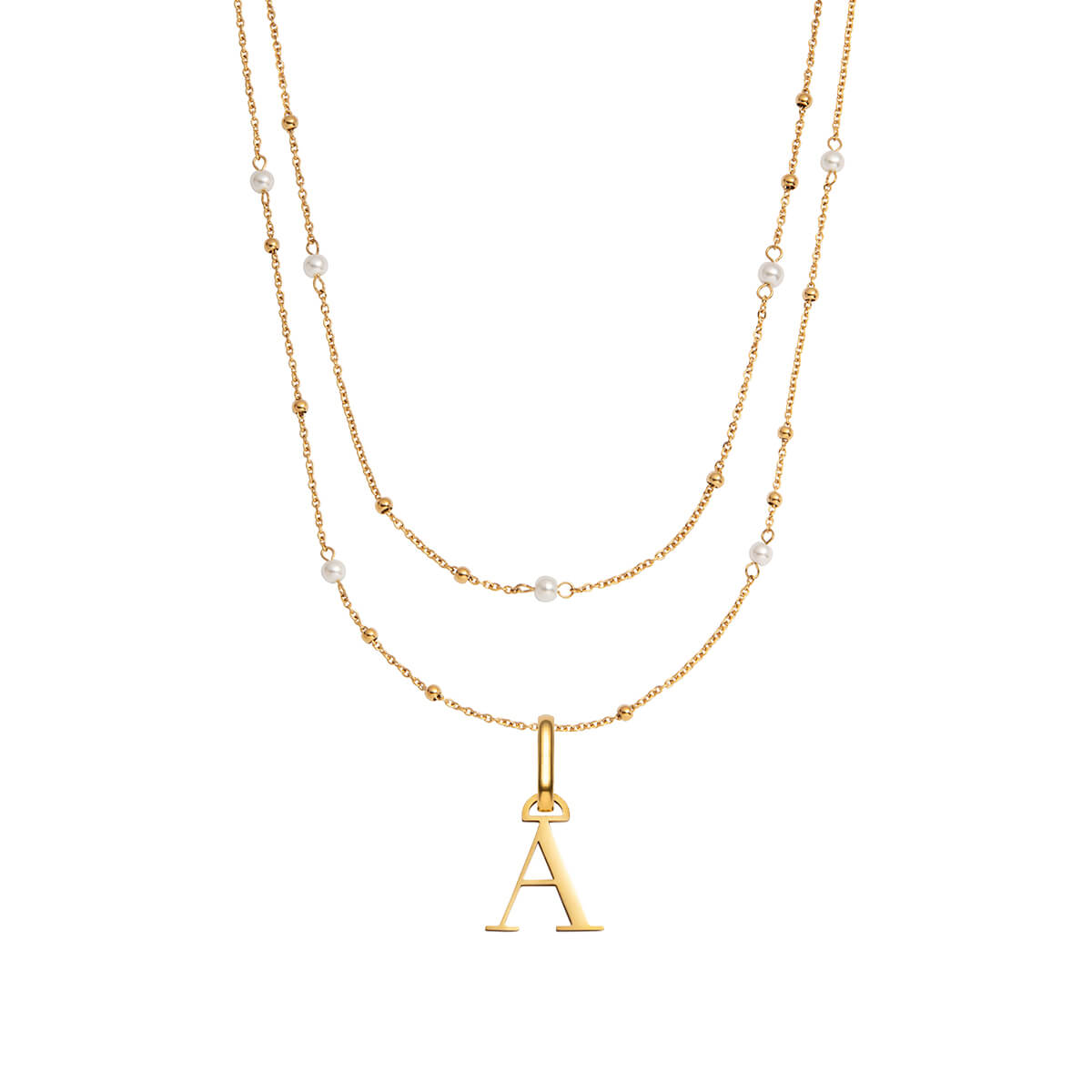 Letter Pearl Double Sphere Chain Necklace (Gold)