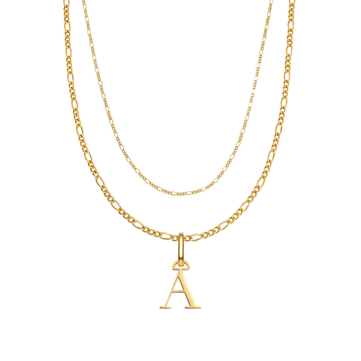 Letter Double Chain Figaro Necklace (Gold)